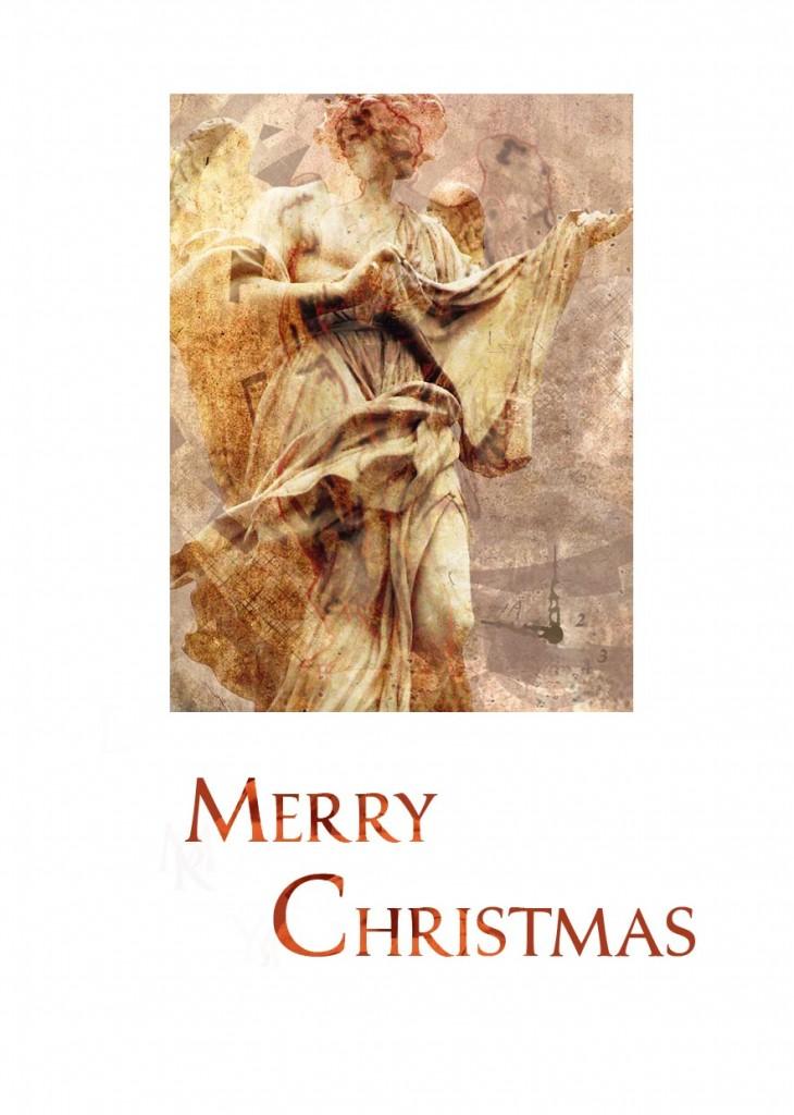 Christmas Card with Angel and Digital Photo Art