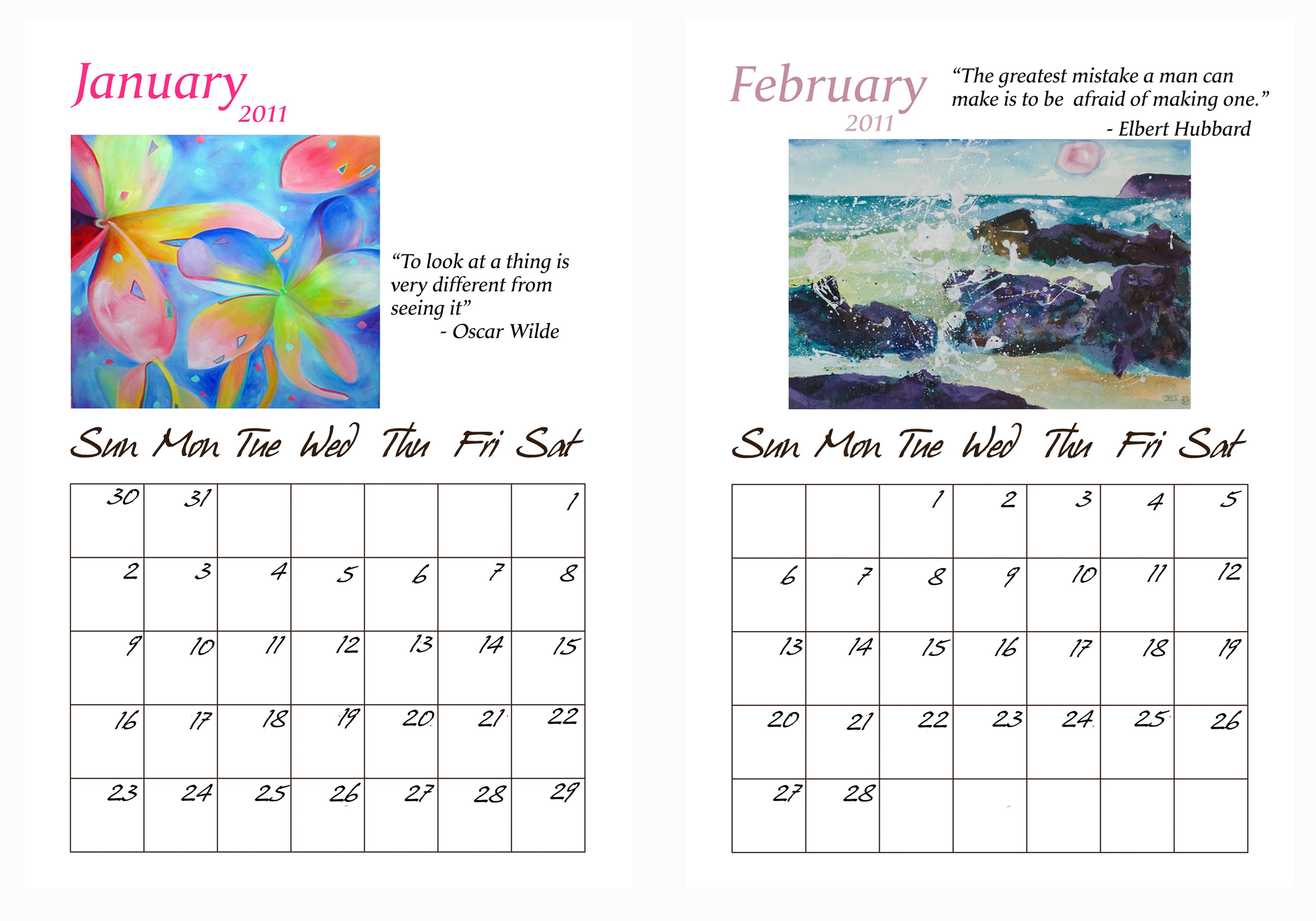 2011 Calendar- Kadira's Calendar of inspirational sayings and creative images