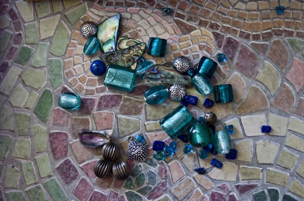 Jewellery Making Components: glass beads, paua shell, murano glass and silver Bali beads