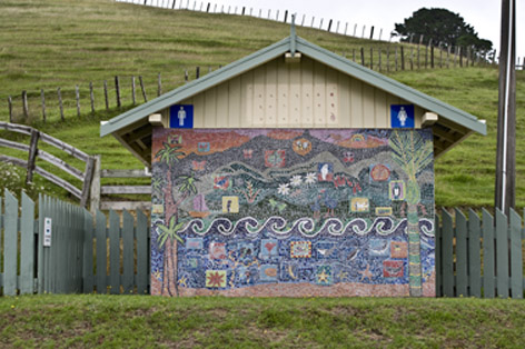 Public toilet at Colville, covered in mosaics