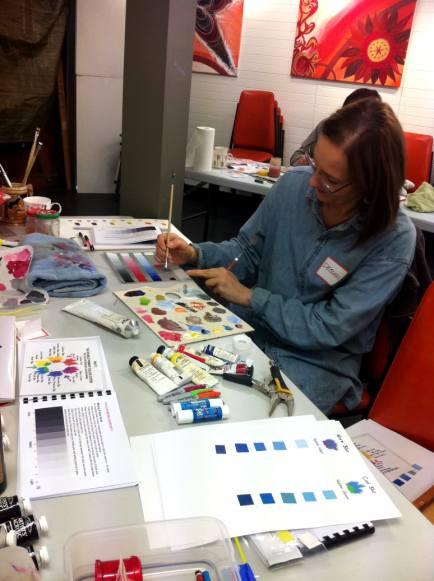 Deborah mixing colours