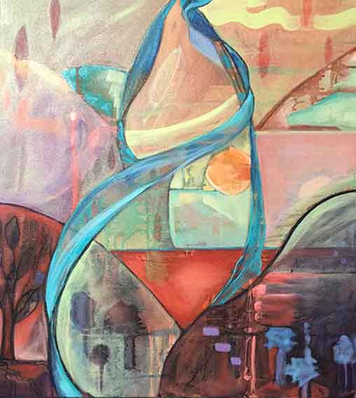 "Whispers on the Wind Oil and Acrylic on canvas 24""x 22""  $900"